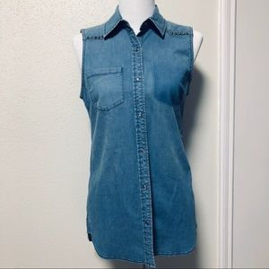 Denim Sleeveless Button Down Shirt with Studs